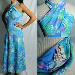 Vintage Anne Fogarty Blue Wrap Maxi Dress